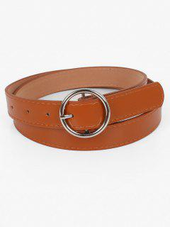 Metal Circle Buckle Faux Leather Belt - Brown