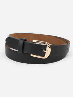 Alloy Buckle Artificial Leather Waist Belt - Black
