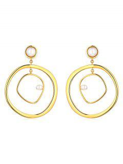 Artificial Pearl Decor Alloy Earrings - Gold