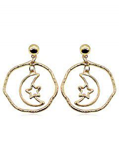 Hollow Star Moon Shape Alloy Earrings - Gold
