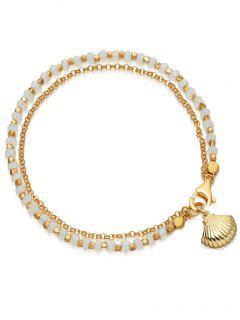 Alloy Seashell Shape Beads Bracelet - White