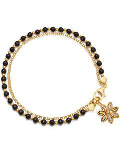 Double Layered Beaded Alloy Chain Bracelet - Black