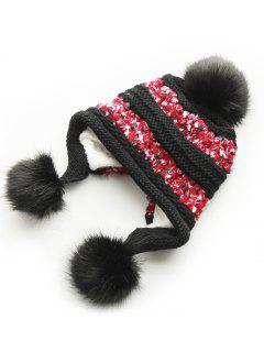 Winter Fuzzy Ball Decorative Warm Hat - Black