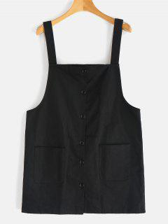 Button Up Mini Pinafore Dress - Black S