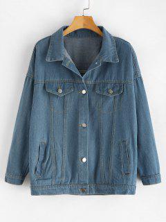 Faux Pockets Buttoned Denim Jacket - Denim Blue M