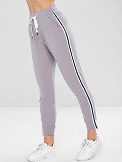 High Waisted Joggers Track Pants - Light Gray L