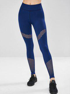 Perforated Mesh Compression Sports Leggings - Cadetblue M