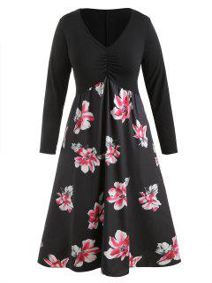 Plunge Plus Size Floral Long Dress - Black 3x