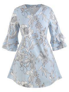 Robe Fleur Imprimée à Manches Evasées De Grande Taille - Bleu Pastel 2x