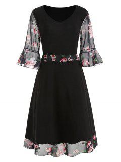 Vestido A Media Pierna Con Estampado Floral Y Talla Grande - Negro 3x