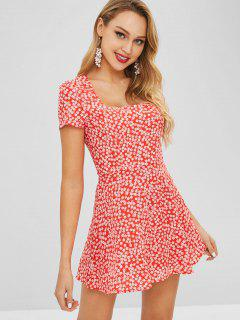 Square Collar Tiny Floral Dress - Red S