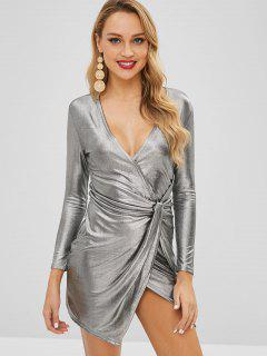Metallic Twisted Plunging Dress - Gray Xl