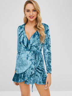 Robe Portefeuille En Velours à Volants - Paon Bleu L