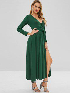 Vestido Largo De Manga Larga Con Cuello Redondo - Verde S