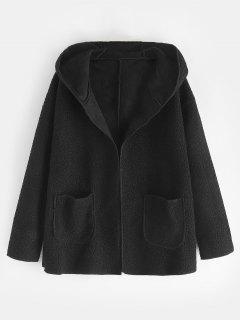 Manteau à Capuche Avec Poches En Fausse Fourrure - Noir L