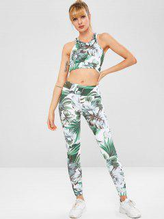 Tropical Sports Bra And Leggings Sweat Suit - Multi M