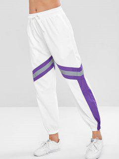 Pantalones De Jogger De Diseño Reflectivo De Bloque De Color - Blanco Xl
