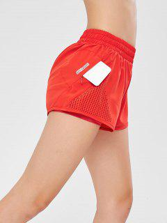Hollow Out Overlay Sport Shorts - Red Xl