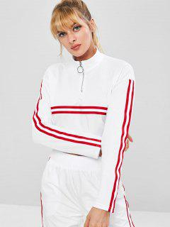 Zipped Striped Cropped Sports Sweatshirt - White M
