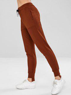Drawstring High Low Pocket Pants - Sandy Brown M