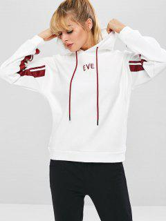 Eve Embroidered Drop Shoulder Hoodie - White M