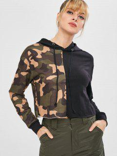Camo Color Block Cropped Pullover Hoodie - Acu Camouflage M
