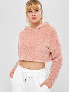 ZAFUL Fluffy Drop Shoulder Crop Teddy Hoodie - Pink L