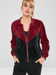 ZAFUL Chaqueta Color Block De Terciopelo - Negro S