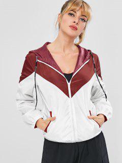 ZAFUL Color Block Hooded Windbreaker Jacket - Red Wine S