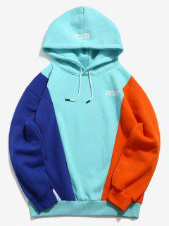Pullover Contract Color Letter Pattern Hoodie - Light Aquamarine L