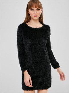 Fluffy Textured Mini Dress - Black S
