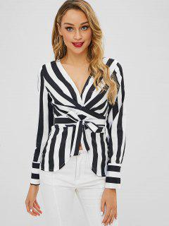 V Neck Striped Wrap Blouse - Black S