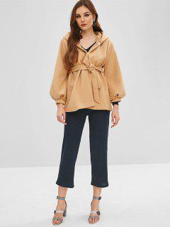 Snap Button Belted Wool Blend Coat - Apricot L