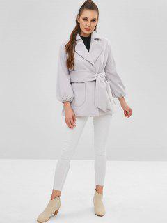 Belted Lapel Wool Blend Coat - Gray Cloud M