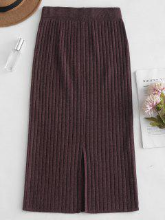 Knitted Bodycon Pencil Skirt - Coffee