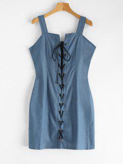 Lace-up Chambray Dress - Silk Blue L