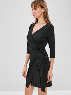 Short Wrap Dress - Black S