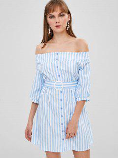 Button Up - Streifen Ab Schulter Kleid - Himmelblau Xl