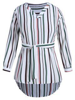 Robe Tunique Rayée Haute Basse De Grande Taille - Multi 2x
