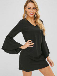 Bell Sleeve Mini Shift Dress - Black L