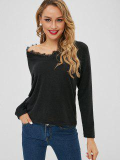 Pullover Mit V-Ausschnitt Und Spitzenbesatz - Schwarz M