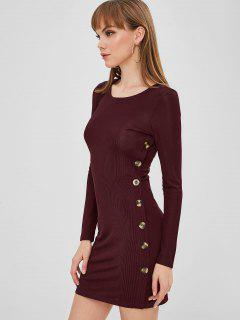 ZAFUL Buttoned Long Sleeve Bodycon Dress - Red Wine S