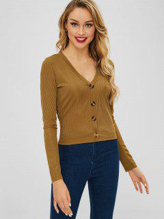 ZAFUL Plunge Long Sleeve Buttoned Tee - Brown S