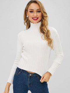 Pullover Mit Weitem Gerippten Trichter - Weiß