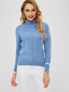 Suéter De Cuello Alto En Contraste - Azul Aciano