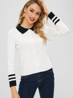 Pullover Mit Kontrastierendem Polo-Kragen - Weiß
