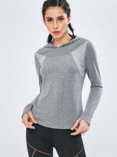 Hooded Paneled Sports Top - Dark Gray M