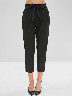 Belted Cuffed Straight Pants - Black L
