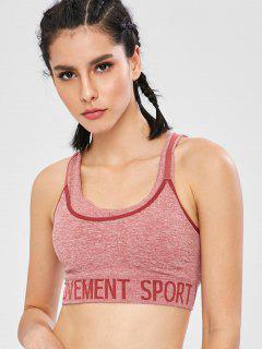 Graphic Layered Padded Sports Bra - Lipstick Pink L