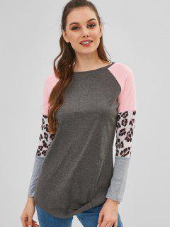 Leopard Raglan Sleeve T-shirt - Multi-a S